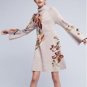 Anthropologie Knitted & Knotted Embroidery Dress